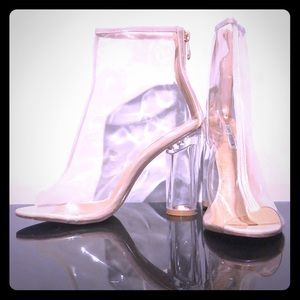 Cape Robbin Benny Peep Toe Clear Ankle Bootie